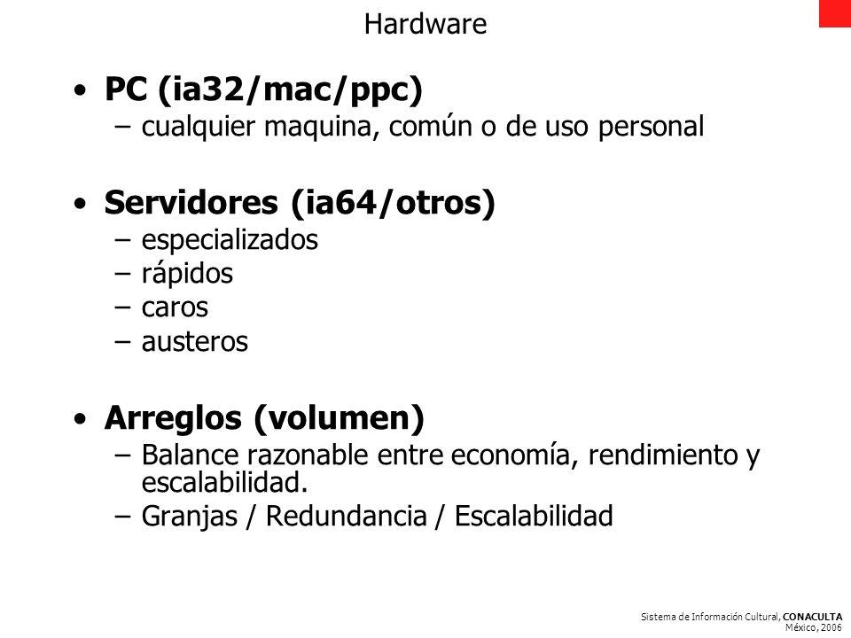 Sistema de Información Cultural, CONACULTA México, 2006 Hardware PC (ia32/mac/ppc) –cualquier maquina, común o de uso personal Servidores (ia64/otros) –especializados –rápidos –caros –austeros Arreglos (volumen) –Balance razonable entre economía, rendimiento y escalabilidad.