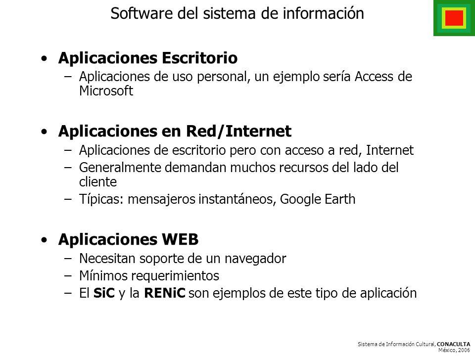 Sistema de Información Cultural, CONACULTA México, 2006 Software del sistema de información Aplicaciones Escritorio –Aplicaciones de uso personal, un ejemplo sería Access de Microsoft Aplicaciones en Red/Internet –Aplicaciones de escritorio pero con acceso a red, Internet –Generalmente demandan muchos recursos del lado del cliente –Típicas: mensajeros instantáneos, Google Earth Aplicaciones WEB –Necesitan soporte de un navegador –Mínimos requerimientos –El SiC y la RENiC son ejemplos de este tipo de aplicación