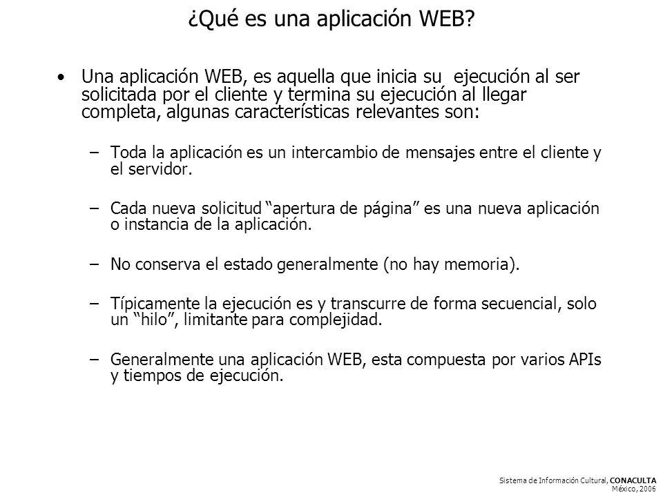 Sistema de Información Cultural, CONACULTA México, 2006 ¿Qué es una aplicación WEB.