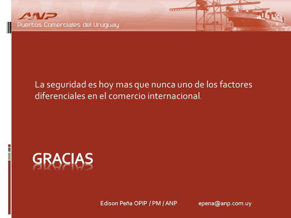 La seguridad es hoy mas que nunca uno de los factores diferenciales en el comercio internacional. Edison Peña OPIP / PM / ANP epena@anp.com.uy