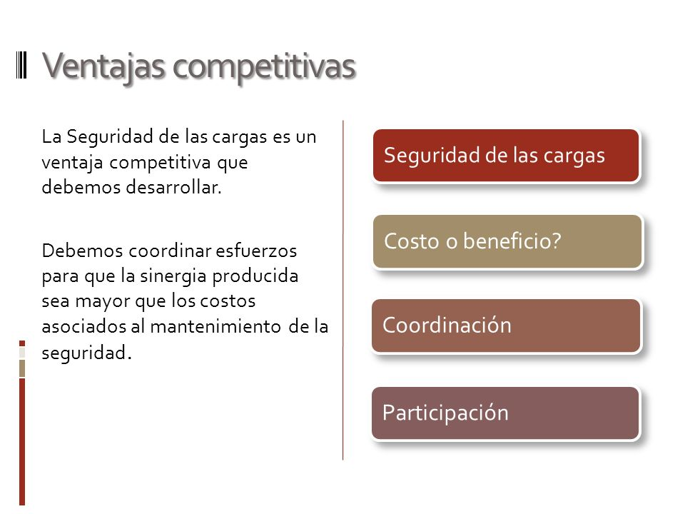 Ventajas competitivas La Seguridad de las cargas es un ventaja competitiva que debemos desarrollar. Debemos coordinar esfuerzos para que la sinergia p