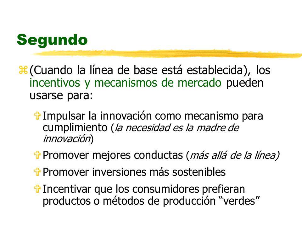 Segundo z(Cuando la línea de base está establecida), los incentivos y mecanismos de mercado pueden usarse para: VImpulsar la innovación como mecanismo para cumplimiento (la necesidad es la madre de innovación) VPromover mejores conductas (más allá de la línea) VPromover inversiones más sostenibles VIncentivar que los consumidores prefieran productos o métodos de producción verdes