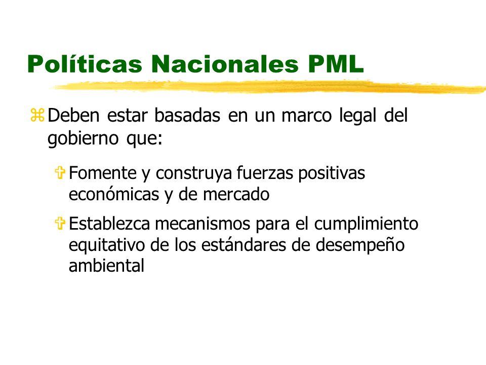Políticas Nacionales PML zDeben estar basadas en un marco legal del gobierno que: VFomente y construya fuerzas positivas económicas y de mercado VEstablezca mecanismos para el cumplimiento equitativo de los estándares de desempeño ambiental