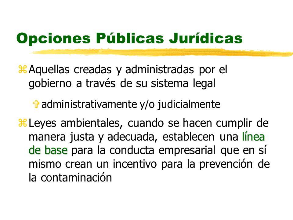 Opciones Públicas Jurídicas zAquellas creadas y administradas por el gobierno a través de su sistema legal Vadministrativamente y/o judicialmente líne