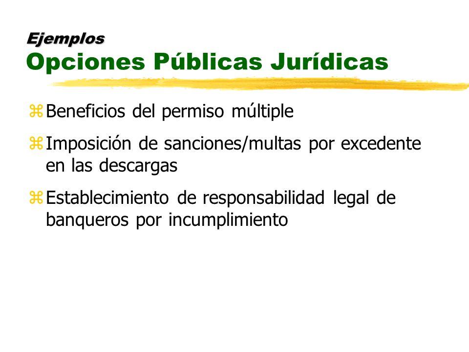 Ejemplos Ejemplos Opciones Públicas Jurídicas zBeneficios del permiso múltiple zImposición de sanciones/multas por excedente en las descargas zEstablecimiento de responsabilidad legal de banqueros por incumplimiento