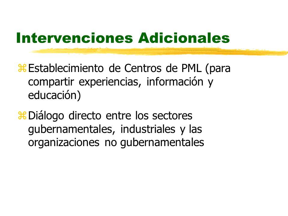 Intervenciones Adicionales zEstablecimiento de Centros de PML (para compartir experiencias, información y educación) zDiálogo directo entre los sectores gubernamentales, industriales y las organizaciones no gubernamentales