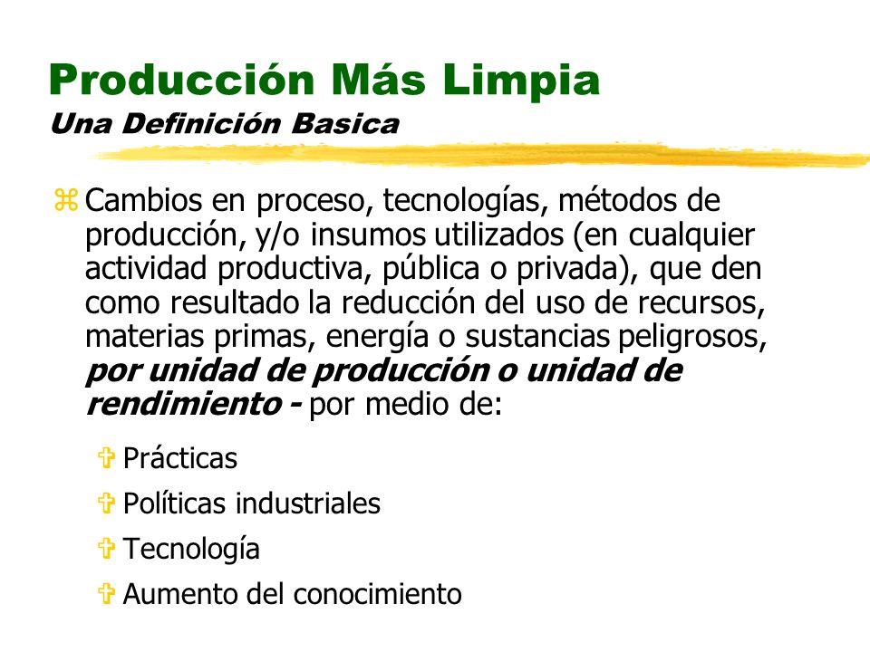 Producción Más Limpia Una Definición Basica zCambios en proceso, tecnologías, métodos de producción, y/o insumos utilizados (en cualquier actividad pr