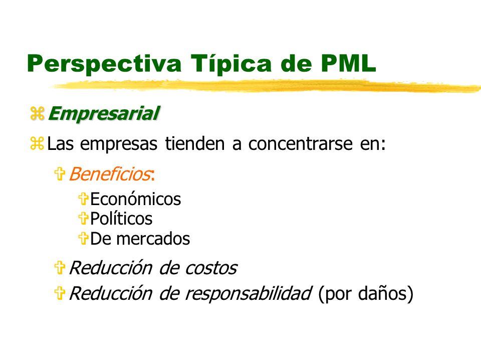 Perspectiva Típica de PML zEmpresarial zLas empresas tienden a concentrarse en: VBeneficios: VEconómicos VPolíticos VDe mercados VReducción de costos