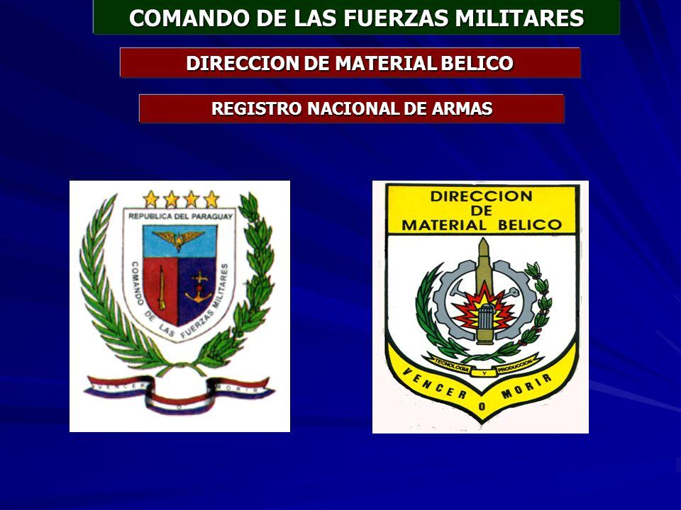 COMANDO DE LAS FUERZAS MILITARES DIRECCION DE MATERIAL BELICO REGISTRO NACIONAL DE ARMAS