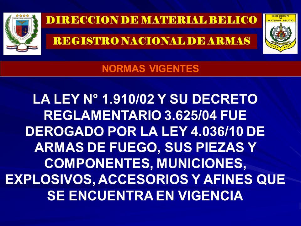 LA LEY N° 1.910/02 Y SU DECRETO REGLAMENTARIO 3.625/04 FUE DEROGADO POR LA LEY 4.036/10 DE ARMAS DE FUEGO, SUS PIEZAS Y COMPONENTES, MUNICIONES, EXPLO