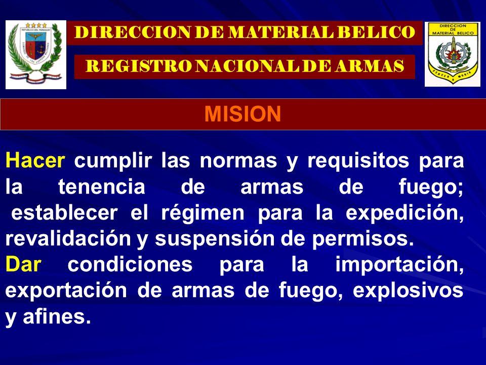 Hacer cumplir las normas y requisitos para la tenencia de armas de fuego; establecer el régimen para la expedición, revalidación y suspensión de permi