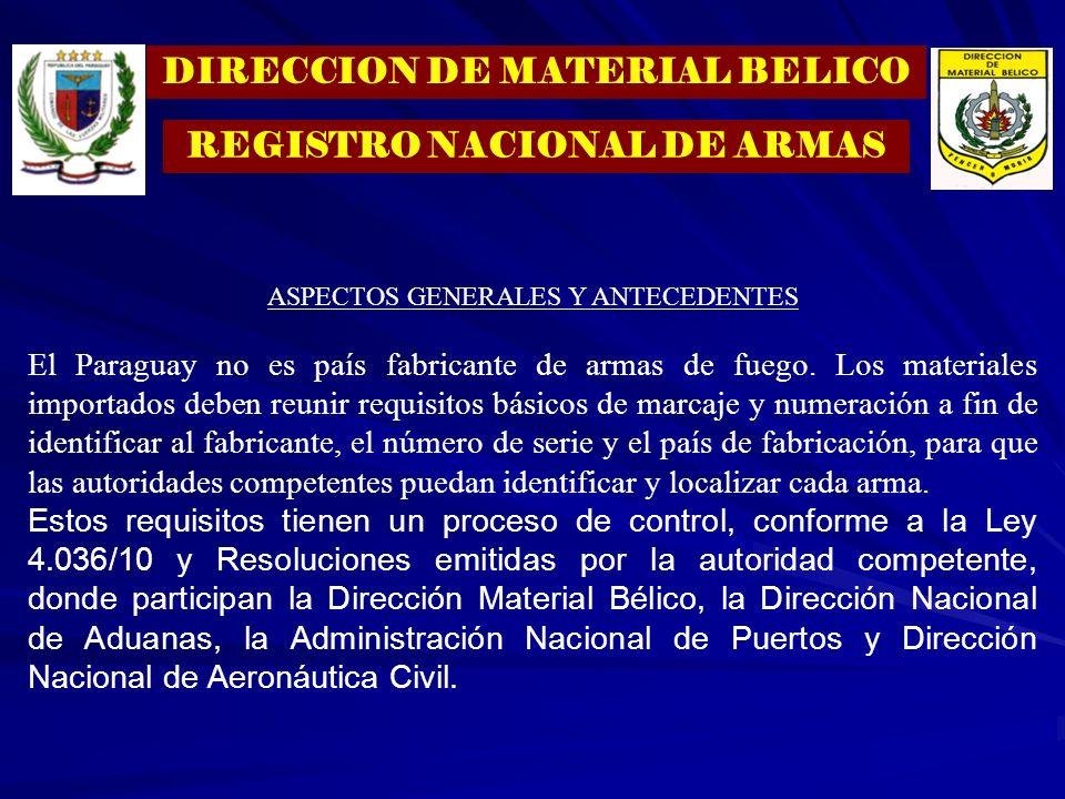 DIRECCION DE MATERIAL BELICO REGISTRO NACIONAL DE ARMAS ASPECTOS GENERALES Y ANTECEDENTES El Paraguay no es país fabricante de armas de fuego. Los mat