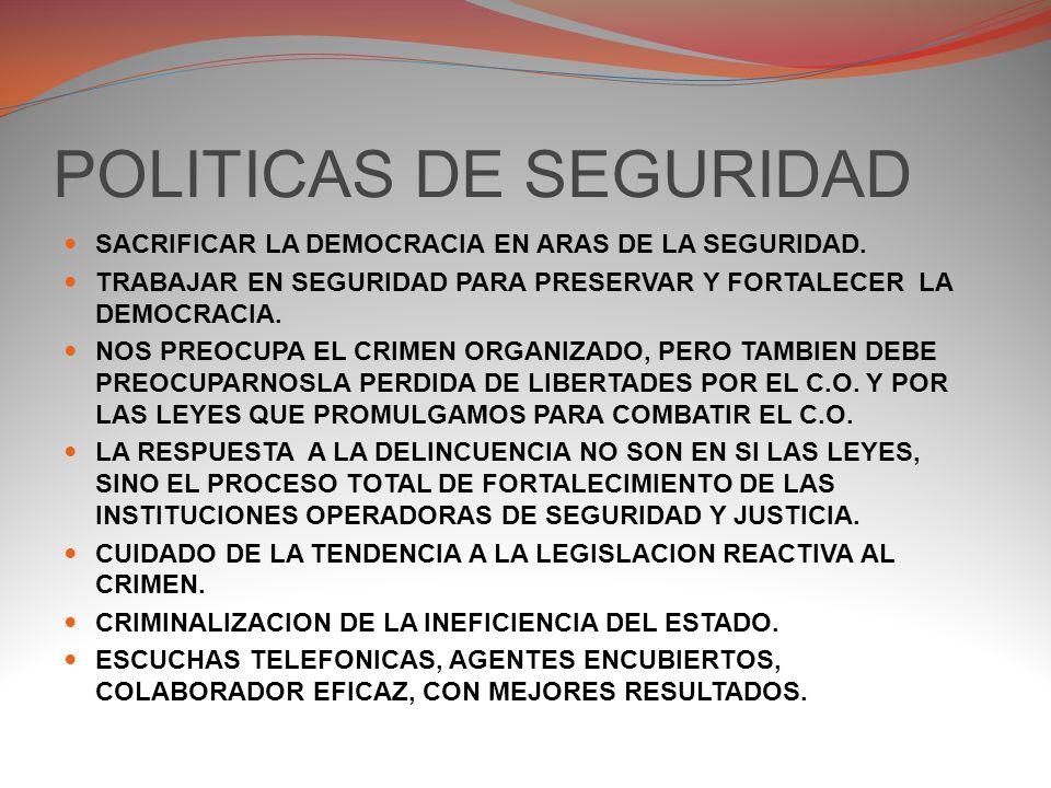 POLITICAS DE SEGURIDAD EL PROBLEMA NACIONAL O DOMESTICO DE SEGURIDAD, LO QUEREMOS RESOLVER YA, A NUESTRO MODO, LO QUE PROVOCA AISLAMIENTOS EN LA AYUDA Y COOPERACION DE OTROS PAISES QUE YA LO HAN RESUELTO POR OTRAS FORMAS.