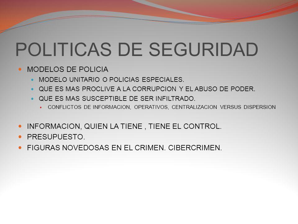 POLITICAS DE SEGURIDAD MODELOS DE POLICIA MODELO UNITARIO O POLICIAS ESPECIALES.