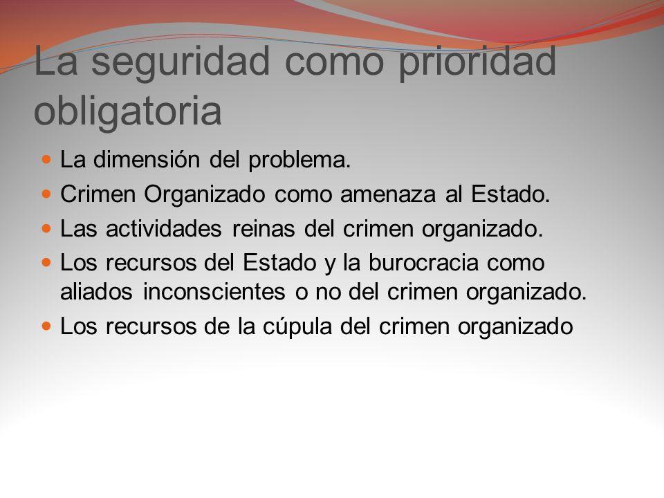 La seguridad como prioridad El diseño de políticas de seguridad y el período presidencial.