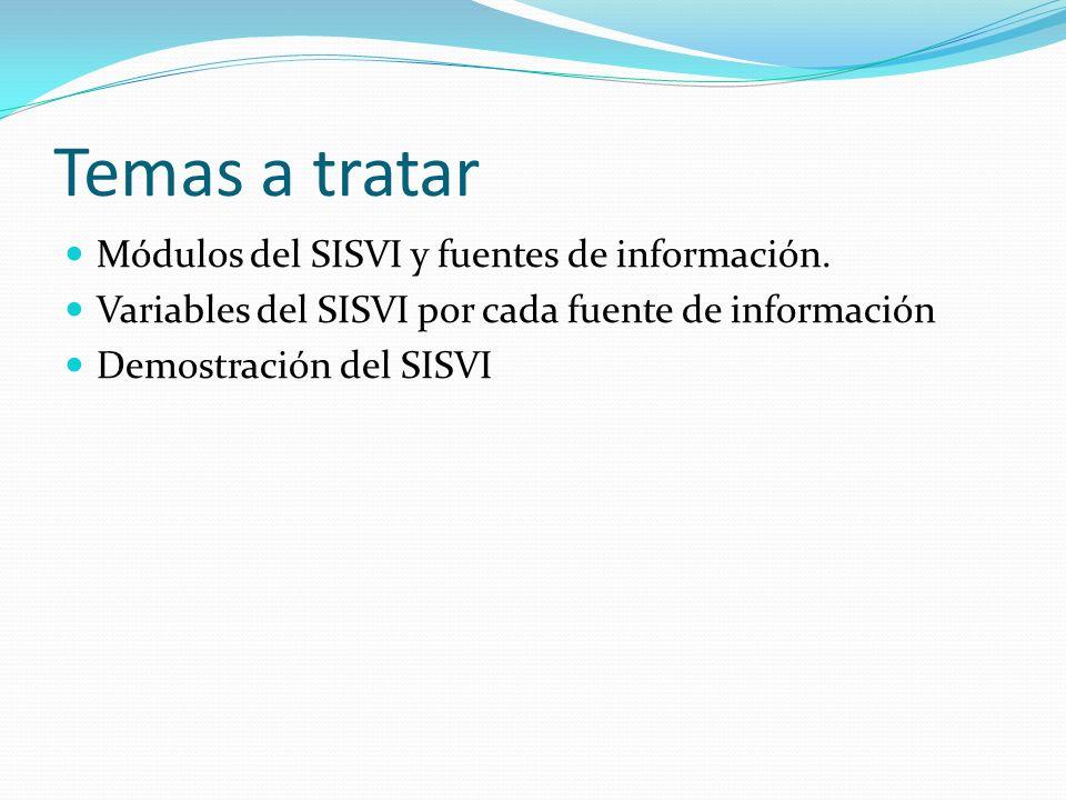 Temas a tratar Módulos del SISVI y fuentes de información. Variables del SISVI por cada fuente de información Demostración del SISVI