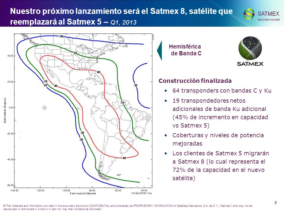 2 ©The materials and information provided in this document are strictly CONFIDENTIAL and considered as PROPRIETARY INFORMATION of Satélites Mexicanos,