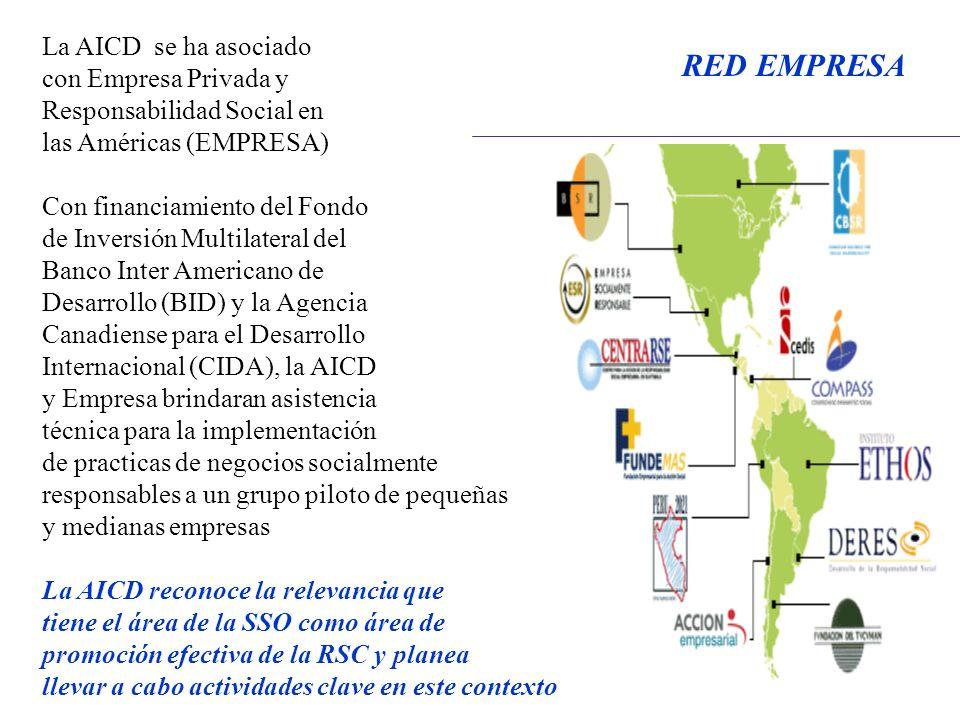 La AICD se ha asociado con Empresa Privada y Responsabilidad Social en las Américas (EMPRESA) Con financiamiento del Fondo de Inversión Multilateral del Banco Inter Americano de Desarrollo (BID) y la Agencia Canadiense para el Desarrollo Internacional (CIDA), la AICD y Empresa brindaran asistencia técnica para la implementación de practicas de negocios socialmente responsables a un grupo piloto de pequeñas y medianas empresas La AICD reconoce la relevancia que tiene el área de la SSO como área de promoción efectiva de la RSC y planea llevar a cabo actividades clave en este contexto RED EMPRESA