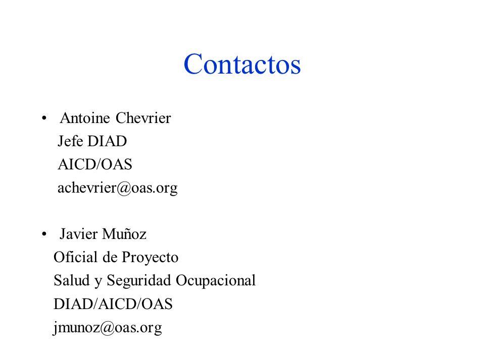 Antoine Chevrier Jefe DIAD AICD/OAS achevrier@oas.org Javier Muñoz Oficial de Proyecto Salud y Seguridad Ocupacional DIAD/AICD/OAS jmunoz@oas.org Contactos