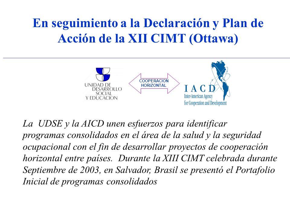 En seguimiento a la Declaración y Plan de Acción de la XII CIMT (Ottawa) COOPERACION HORIZONTAL La UDSE y la AICD unen esfuerzos para identificar programas consolidados en el área de la salud y la seguridad ocupacional con el fin de desarrollar proyectos de cooperación horizontal entre países.