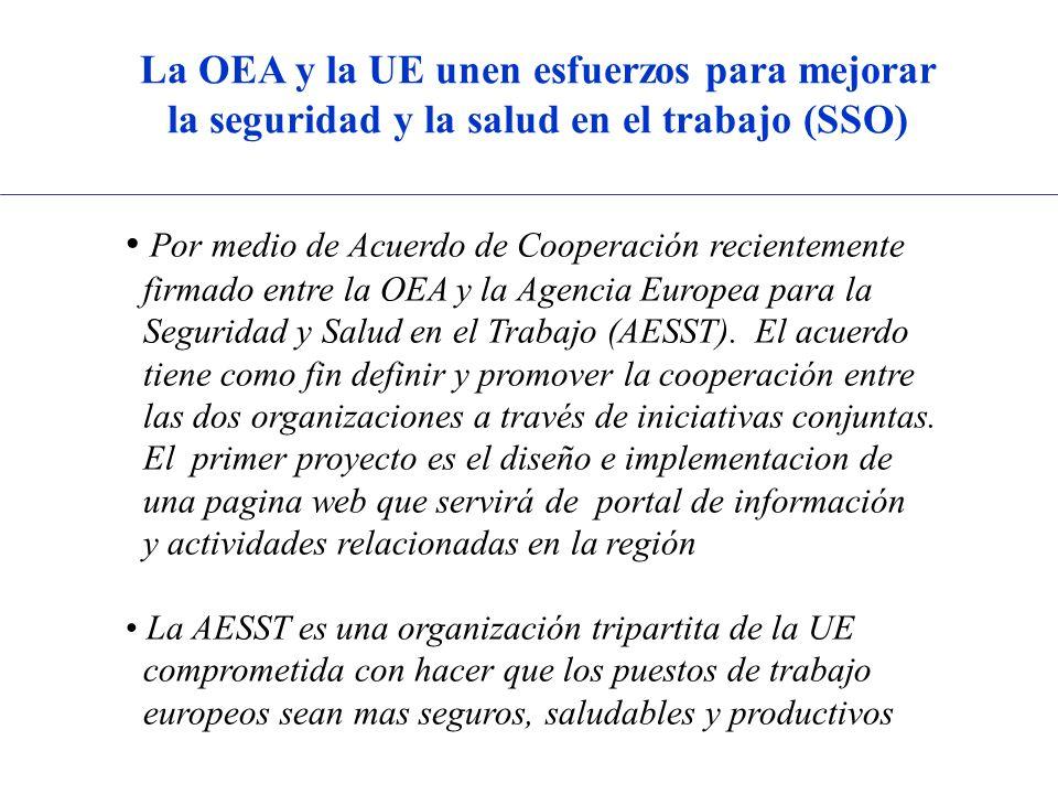 La OEA y la UE unen esfuerzos para mejorar la seguridad y la salud en el trabajo (SSO) Por medio de Acuerdo de Cooperación recientemente firmado entre la OEA y la Agencia Europea para la Seguridad y Salud en el Trabajo (AESST).
