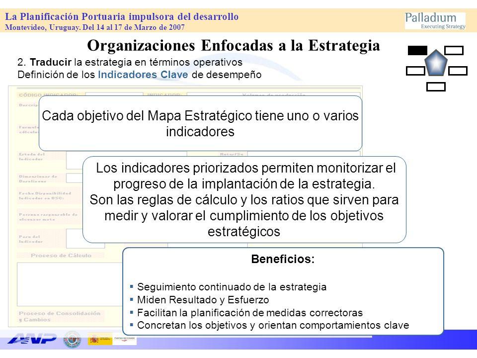 La Planificación Portuaria impulsora del desarrollo Montevideo, Uruguay. Del 14 al 17 de Marzo de 2007 Los indicadores priorizados permiten monitoriza