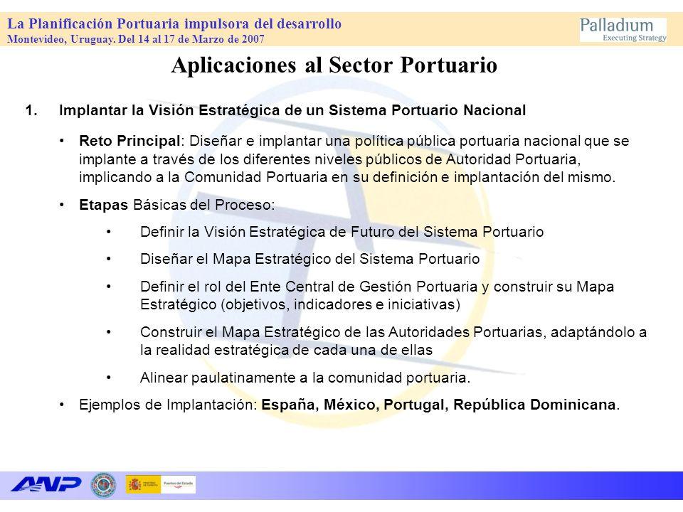 La Planificación Portuaria impulsora del desarrollo Montevideo, Uruguay. Del 14 al 17 de Marzo de 2007 Aplicaciones al Sector Portuario 1.Implantar la