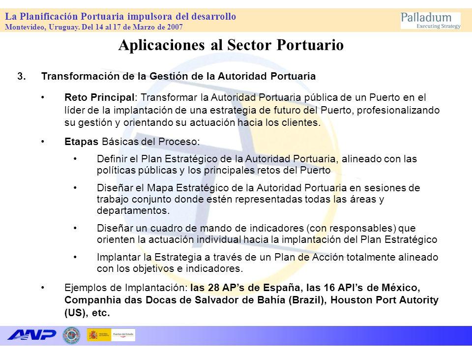 La Planificación Portuaria impulsora del desarrollo Montevideo, Uruguay. Del 14 al 17 de Marzo de 2007 Aplicaciones al Sector Portuario 3.Transformaci