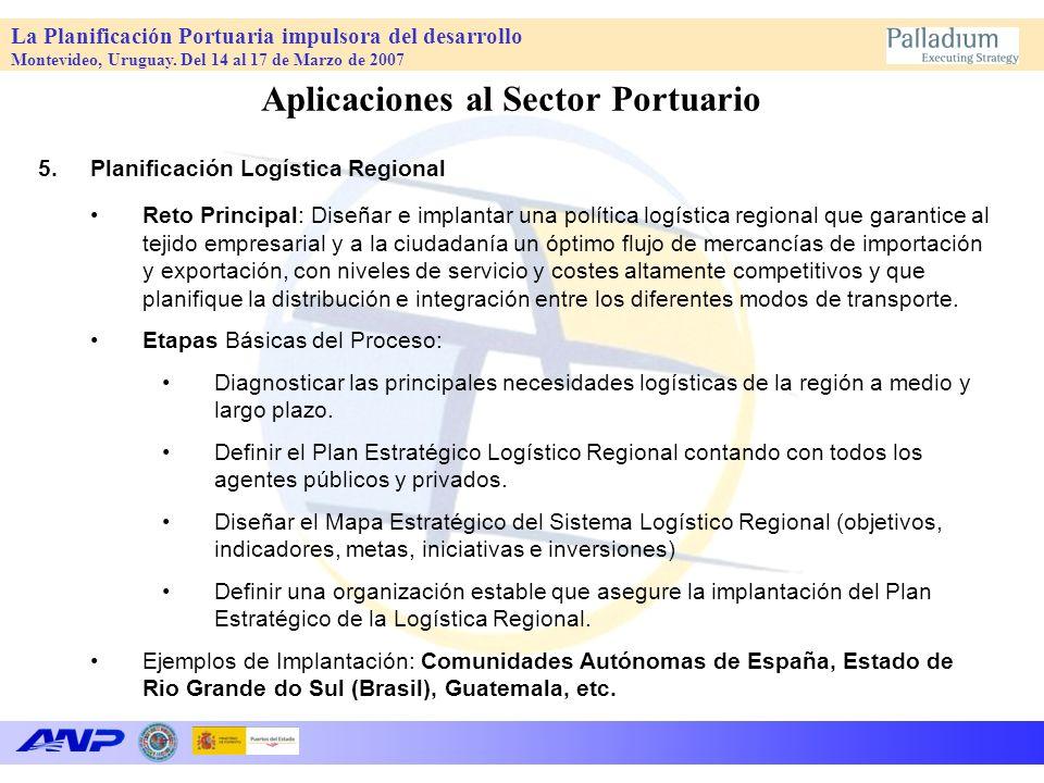 La Planificación Portuaria impulsora del desarrollo Montevideo, Uruguay. Del 14 al 17 de Marzo de 2007 Aplicaciones al Sector Portuario 5.Planificació