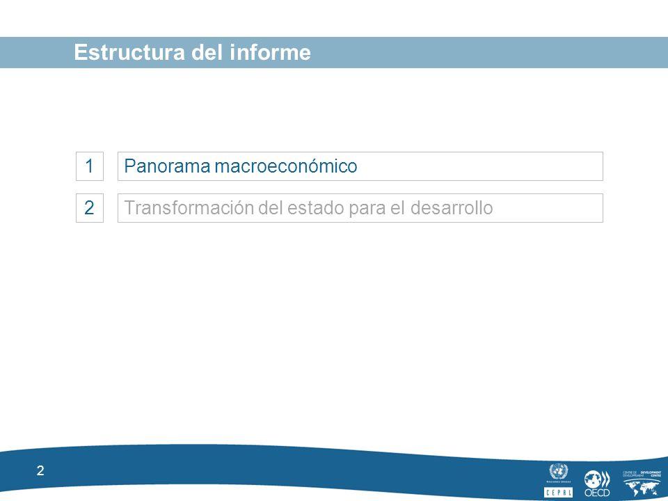 2 Estructura del informe 1Panorama macroeconómico 2Transformación del estado para el desarrollo