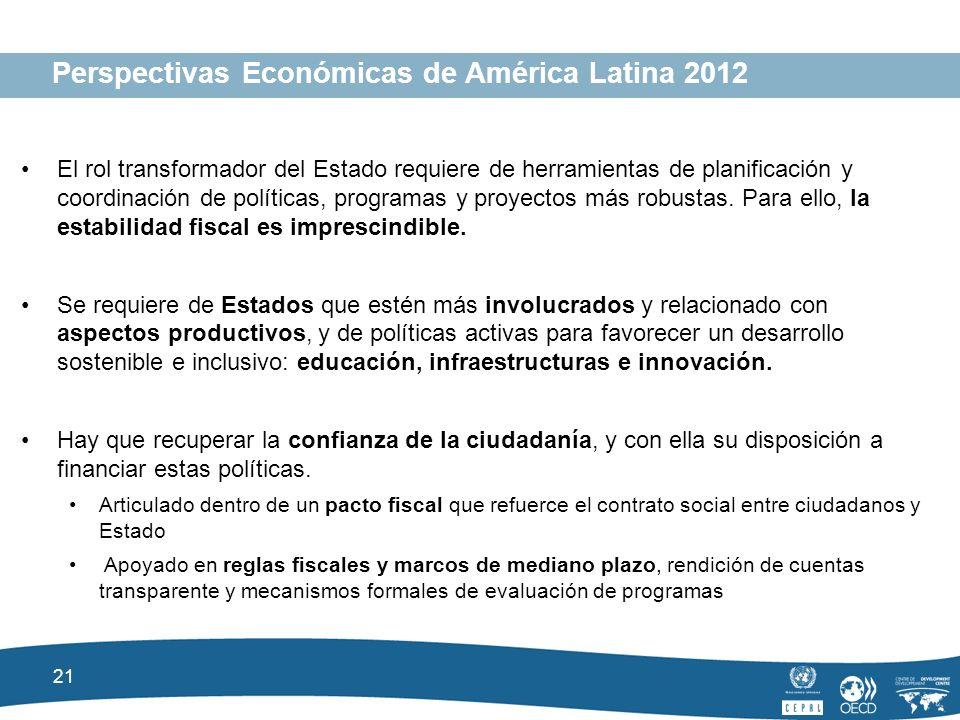21 Perspectivas Económicas de América Latina 2012 El rol transformador del Estado requiere de herramientas de planificación y coordinación de políticas, programas y proyectos más robustas.