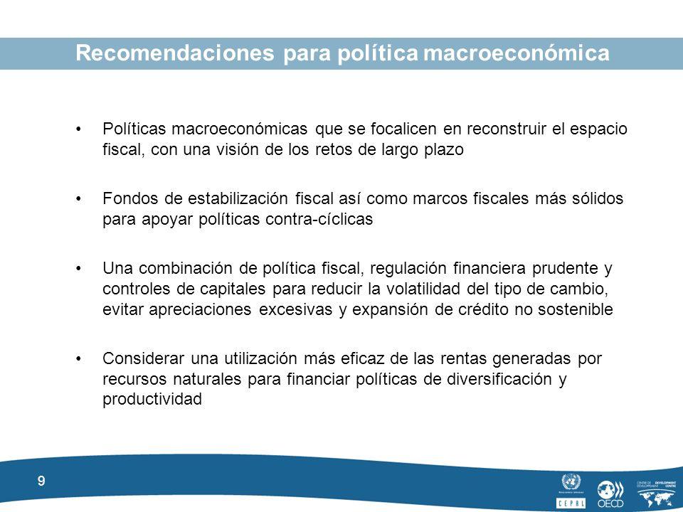 9 Recomendaciones para política macroeconómica Políticas macroeconómicas que se focalicen en reconstruir el espacio fiscal, con una visión de los retos de largo plazo Fondos de estabilización fiscal así como marcos fiscales más sólidos para apoyar políticas contra-cíclicas Una combinación de política fiscal, regulación financiera prudente y controles de capitales para reducir la volatilidad del tipo de cambio, evitar apreciaciones excesivas y expansión de crédito no sostenible Considerar una utilización más eficaz de las rentas generadas por recursos naturales para financiar políticas de diversificación y productividad