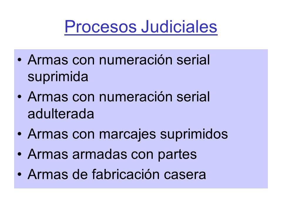 Procesos Judiciales Armas con numeración serial suprimida Armas con numeración serial adulterada Armas con marcajes suprimidos Armas armadas con parte