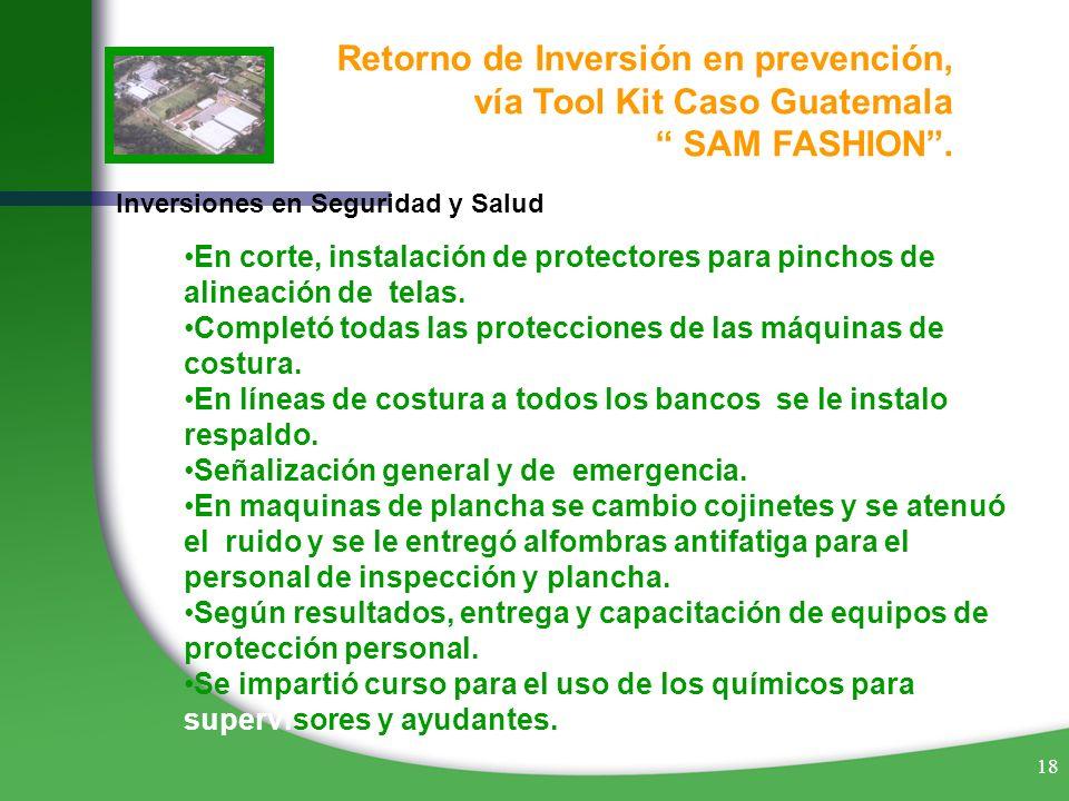 18 Retorno de Inversión en prevención, vía Tool Kit Caso Guatemala SAM FASHION. Inversiones en Seguridad y Salud En corte, instalación de protectores