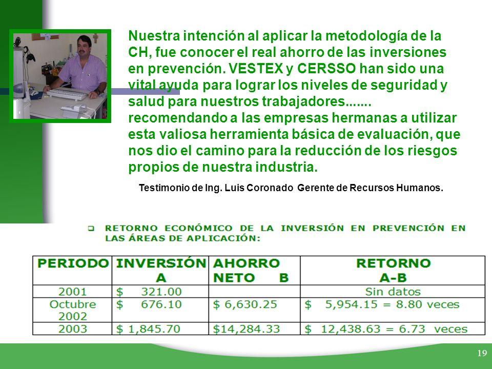 19 Nuestra intención al aplicar la metodología de la CH, fue conocer el real ahorro de las inversiones en prevención. VESTEX y CERSSO han sido una vit