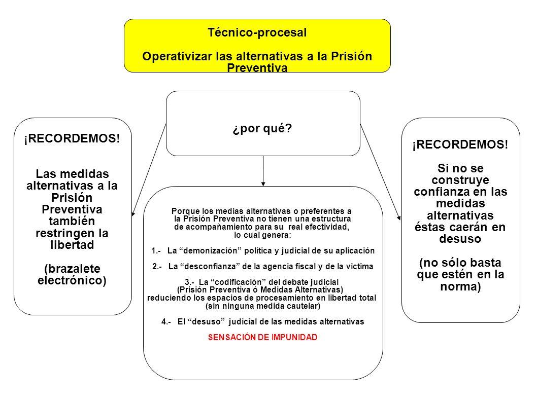 Técnico-procesal Operativizar las alternativas a la Prisión Preventiva ¡RECORDEMOS! Si no se construye confianza en las medidas alternativas éstas cae