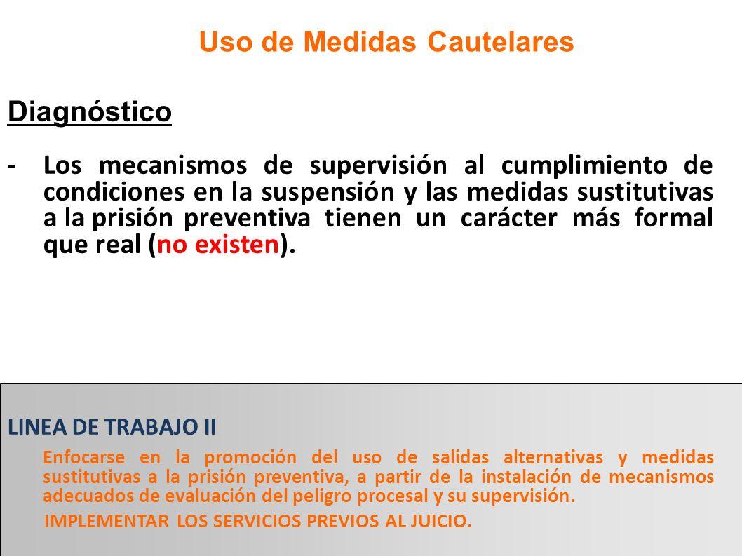 Diagnóstico -Los mecanismos de supervisión al cumplimiento de condiciones en la suspensión y las medidas sustitutivas a la prisión preventiva tienen u