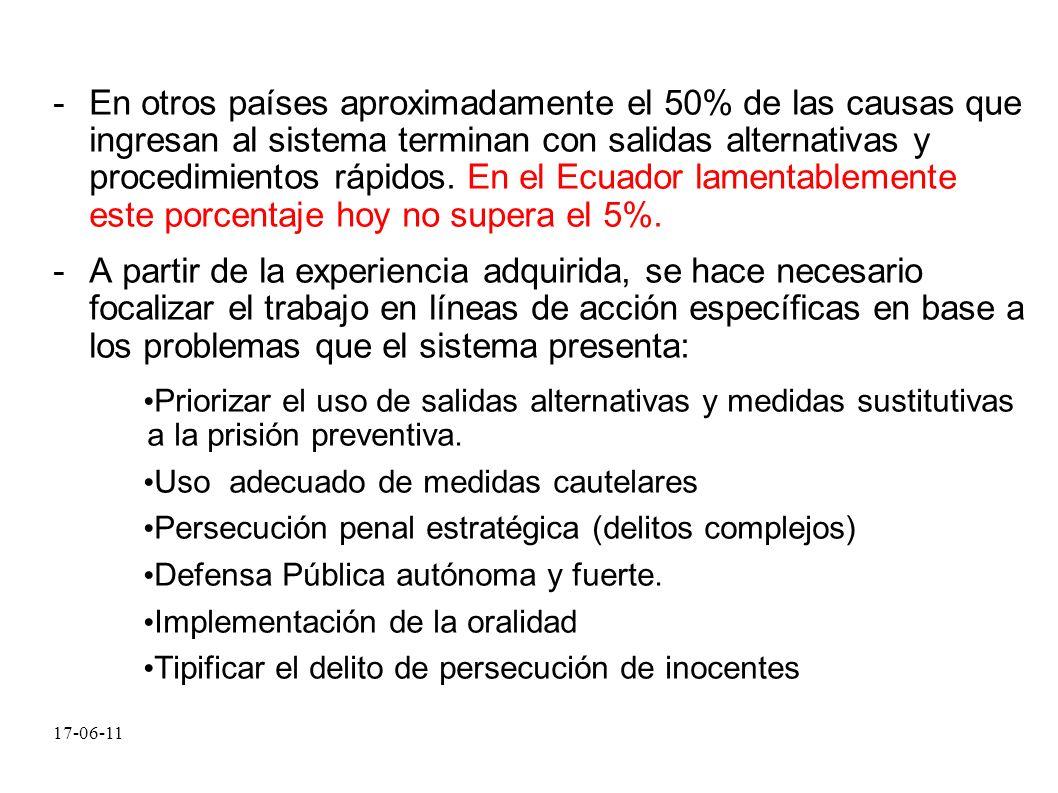 17-06-11 -En otros países aproximadamente el 50% de las causas que ingresan al sistema terminan con salidas alternativas y procedimientos rápidos. En