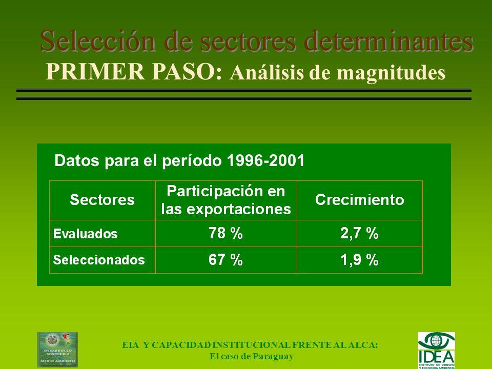 EIA Y CAPACIDAD INSTITUCIONAL FRENTE AL ALCA: El caso de Paraguay Selección de sectores determinantes Sectores evaluadosSectores seleccionados Soja en