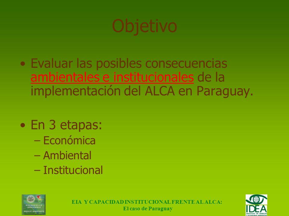 EIA Y CAPACIDAD INSTITUCIONAL FRENTE AL ALCA: El caso de Paraguay EVALUACIÓN DE LOS IMPACTOS AMBIENTALES Y CAPACIDAD INSTITUCIONAL FRENTE AL ÁREA DE L