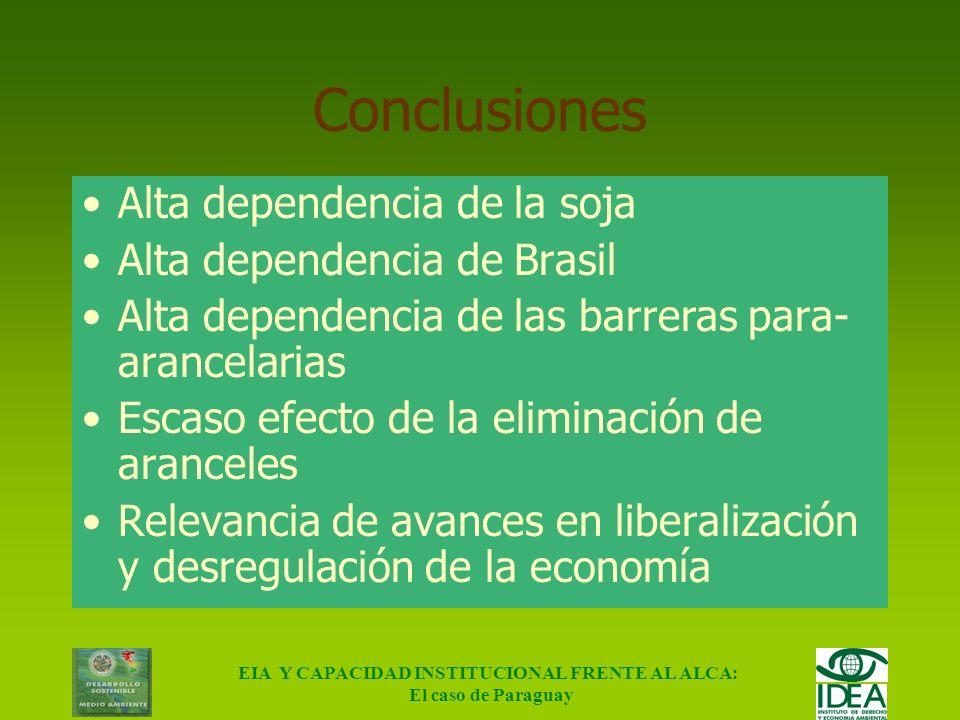 EIA Y CAPACIDAD INSTITUCIONAL FRENTE AL ALCA: El caso de Paraguay Sensibilidad de los resultados IndicadorEfecto Beneficio neto - 48 % Exportaciones -