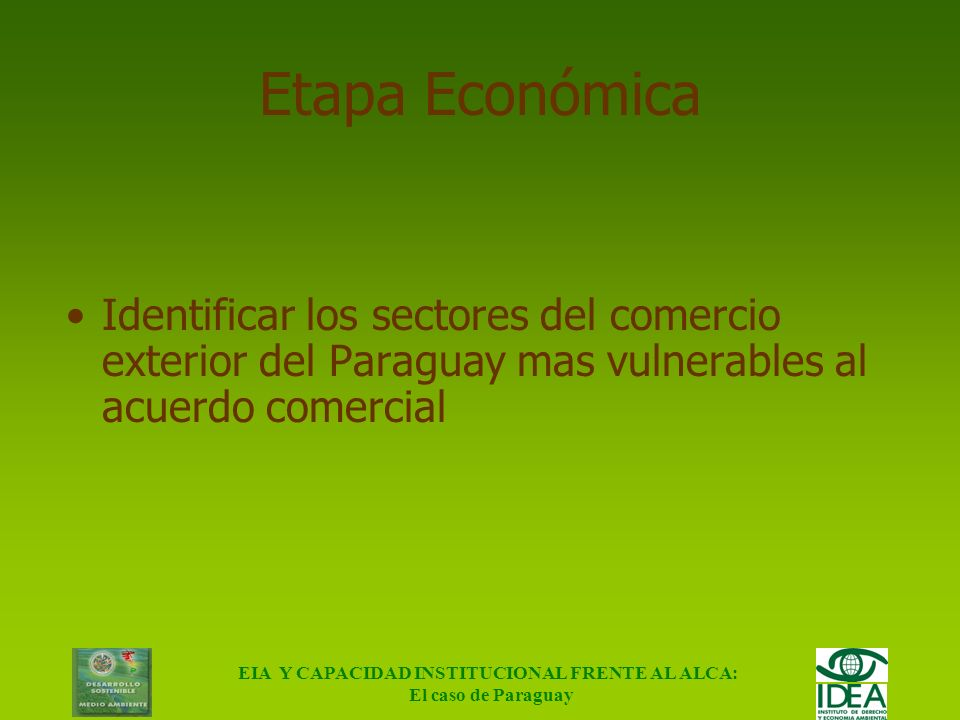 EIA Y CAPACIDAD INSTITUCIONAL FRENTE AL ALCA: El caso de Paraguay Objetivo Evaluar las posibles consecuencias ambientales e institucionales de la impl