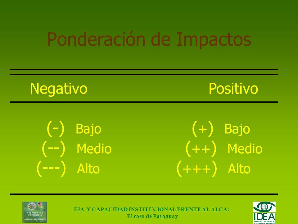 EIA Y CAPACIDAD INSTITUCIONAL FRENTE AL ALCA: El caso de Paraguay Indicadores (UNEP, 2002) TemaÁmbitoIndicador Ambiental Insumos Tasa de utilización d