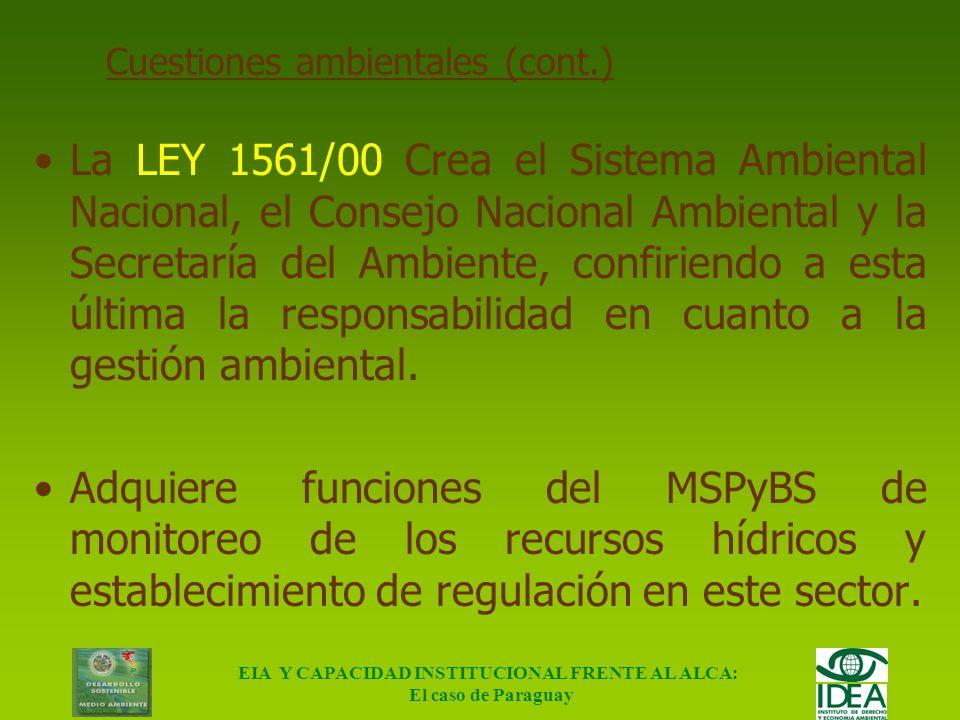 EIA Y CAPACIDAD INSTITUCIONAL FRENTE AL ALCA: El caso de Paraguay Marco Institucional – Cuestiones ambientales Hasta el año 2000 CUESTIONES AMBIENTALE