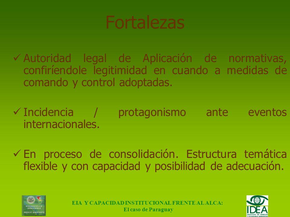EIA Y CAPACIDAD INSTITUCIONAL FRENTE AL ALCA: El caso de Paraguay Cuestiones ambientales (cont.) La LEY 1561/00 Crea el Sistema Ambiental Nacional, el