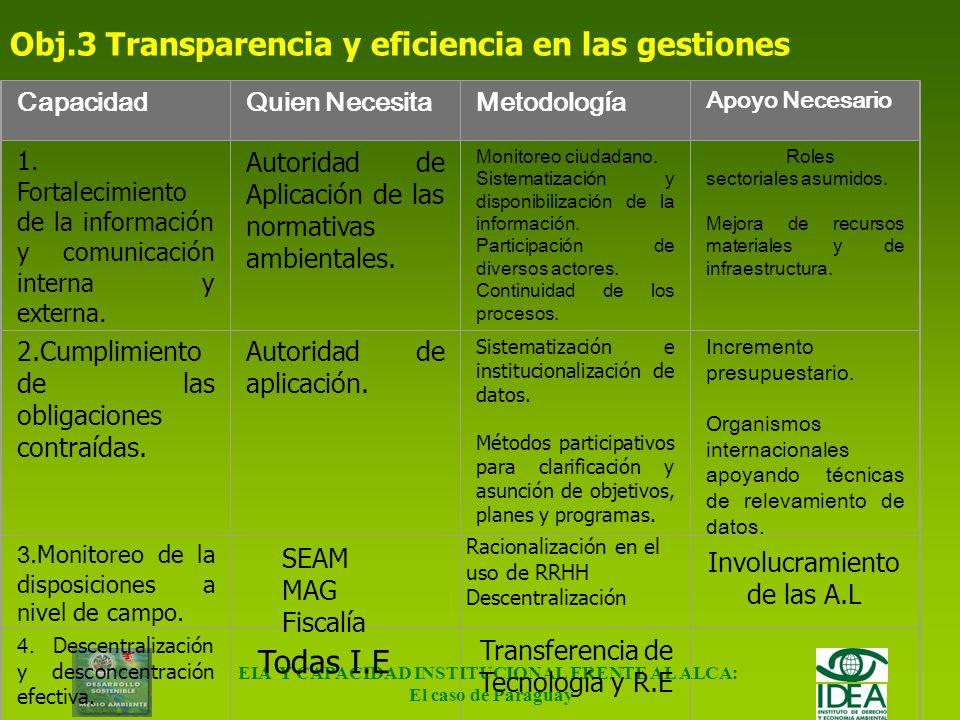 EIA Y CAPACIDAD INSTITUCIONAL FRENTE AL ALCA: El caso de Paraguay Construcción de capacidades (cont.) Objetivo 2: Minimizar los impactos sociales y am