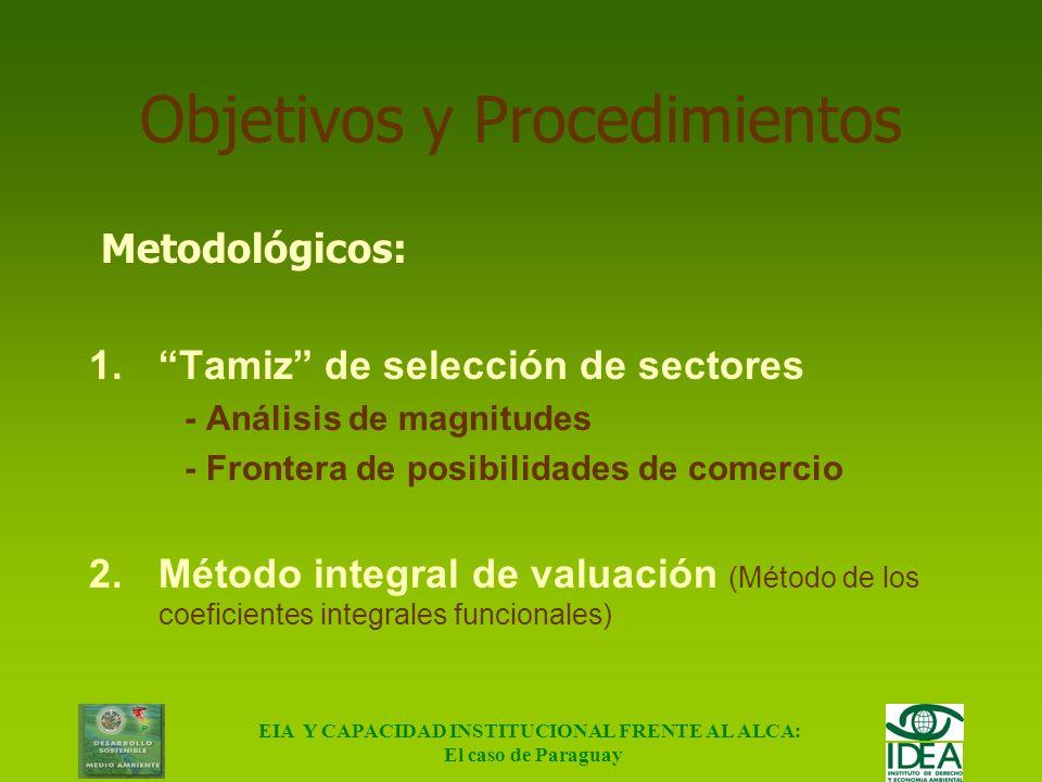EIA Y CAPACIDAD INSTITUCIONAL FRENTE AL ALCA: El caso de Paraguay Objetivos y Procedimientos Objetivo: Calcular los efectos del ALCA sobre los sectore