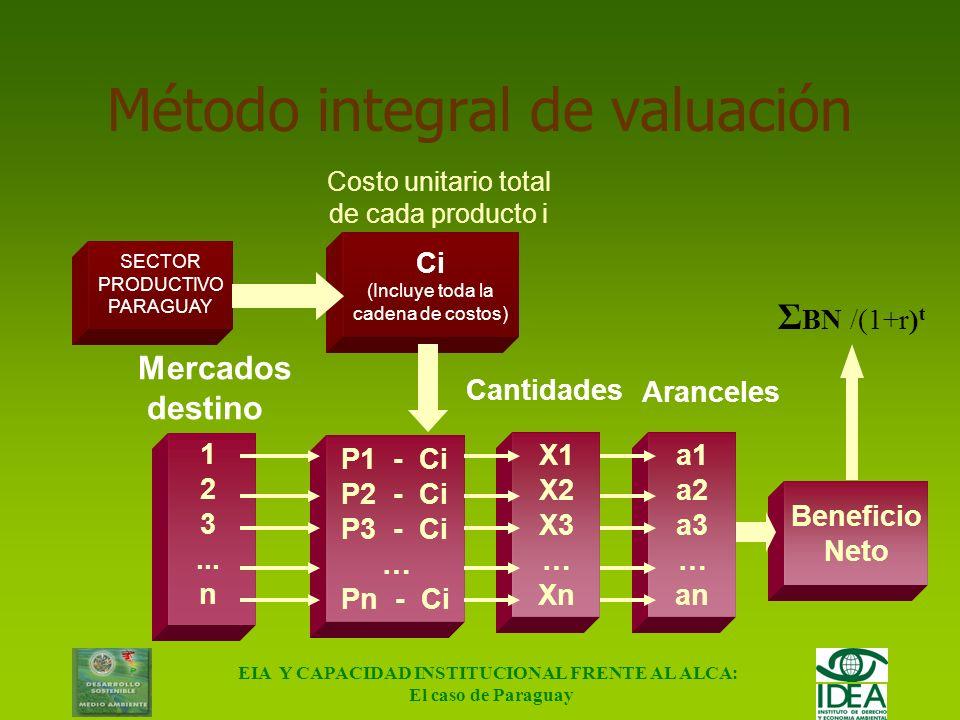 EIA Y CAPACIDAD INSTITUCIONAL FRENTE AL ALCA: El caso de Paraguay Metodológicos: 1.Tamiz de selección de sectores - Análisis de magnitudes - Frontera
