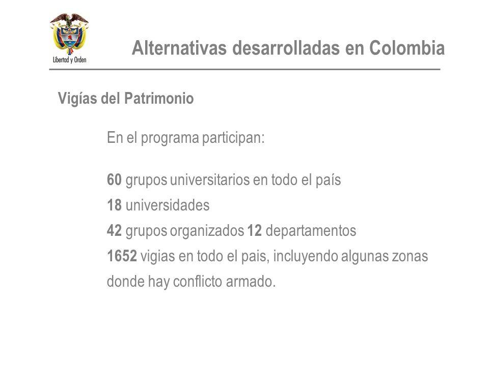 Vigías del Patrimonio En el programa participan: 60 grupos universitarios en todo el país 18 universidades 42 grupos organizados 12 departamentos 1652 vigias en todo el pais, incluyendo algunas zonas donde hay conflicto armado.