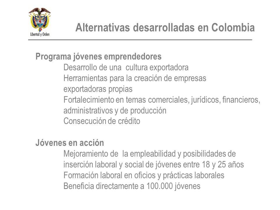 Programa jóvenes emprendedores Desarrollo de una cultura exportadora Herramientas para la creación de empresas exportadoras propias Fortalecimiento en temas comerciales, jurídicos, financieros, administrativos y de producción Consecución de crédito Jóvenes en acción Mejoramiento de la empleabilidad y posibilidades de inserción laboral y social de jóvenes entre 18 y 25 años Formación laboral en oficios y prácticas laborales Beneficia directamente a 100.000 jóvenes Alternativas desarrolladas en Colombia